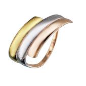 Кольцо с тремя линиями, красное золото и родирование