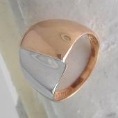 Кольцо с зеркально-гладкой поверхностью, красное золото и родирование
