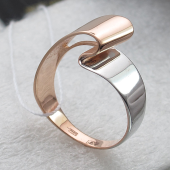 Кольцо Лента без камней, красное золото