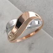 Кольцо Бесконечность, красное золото с родированием
