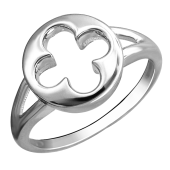 Кольцо Клевер из белого золота 585 пробы
