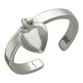 Кольцо на палец ноги с подвеской Сердечко, белое золото
