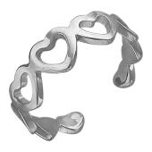 Кольцо на ногу Сердечки, белое золото