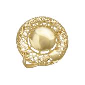 Кольцо Солнце с сеточкой, желтое золото