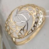 Кольцо ажурное, желтое золото 585 пробы