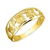 Кольцо с символами удачи (Слон, Сова, Клевер, цифра Семь, Глаз, Подкова) из желтого золота 585 пробы