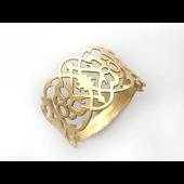 Кольцо с ажурным узором, желтое золото