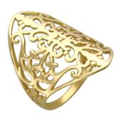 Кольцо широкое узорное, желтое золото
