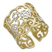 Кольцо широкое с цветочным узором, желтое золото
