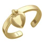 Кольцо на палец ноги с подвеской Сердечко, желтое золото