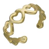 Кольцо на ногу Сердечки, желтое золото