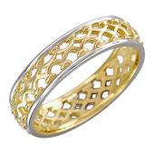 Кольцо Европа без вставок, желтое золото с родированием