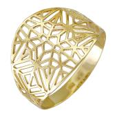 Кольцо Африка широкое, желтое золото