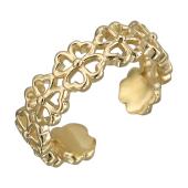 Кольцо разомкнутое Клевер, красное золото
