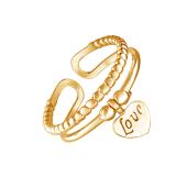 Кольцо разомкнутое с подвеской Сердце и надписью Love из серебра 925 пробы с золотым покрытием