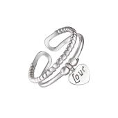 Кольцо открытое с сердечком и надписью Love, серебро