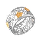 Кольцо Цветок из серебра 925 пробы с золотым покрытием