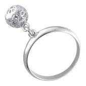 Кольцо Шарик ажурный подвижный из серебра 925 пробы