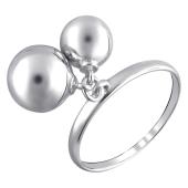 Кольцо Шары гладкие подвижные из серебра 925 пробы