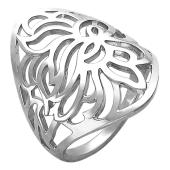 Кольцо широкое с ажурным рисунком, серебро