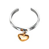 Кольцо разомкнутое с сердцем на подвесе из серебра c позолотой