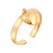 Кольцо Сердце на ногу из серебра с позолотой