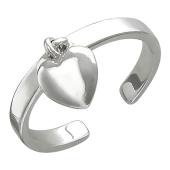 Кольцо разомкнутое с сердцем на подвесе из стерлингового серебра
