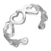 Кольцо открытое Сердечки из серебра