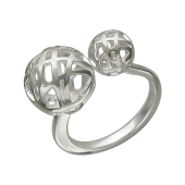 Кольцо Два ажурных шара, серебро