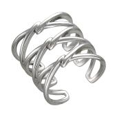 Кольцо широкое тройное, серебро