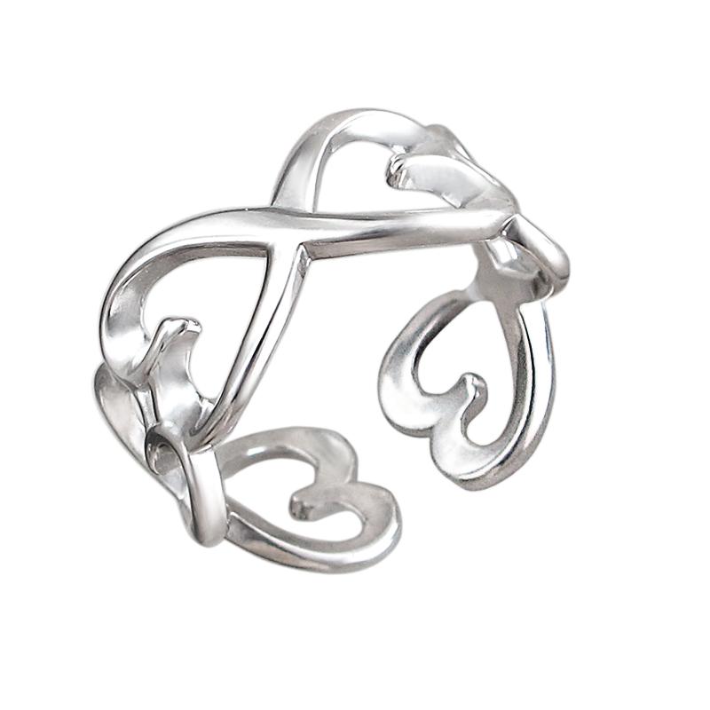 Кольцо Сердце разомкнутое, серебро