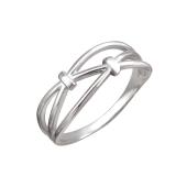 Кольцо с узором из линий и двумя узелками на счастье, серебро
