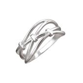 Кольцо с линиями и тремя узелками на счастье, серебро