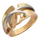 Кольцо с широкой шинкой, Корсет, эффект переплетенного шнурка, красное и белое золото