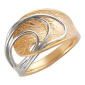 Кольцо с широкой шинкой, пересечение проволоки из золота разного цвета, красное и белое золото