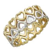 Кольцо Сердечки в два ряда, желтое и белое золото 6мм