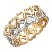 Кольцо Сердечки Очаровательные, красное и белое золото 6мм