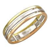 Кольцо Тринити, красное белое и желтое золото