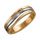 Кольцо Волна, красное и белое золото
