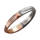Кольцо Дуэт с прожилками, красное и белое золото