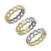 Кольцо Дуэт со звеньями, желтое и белое золото