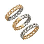 Кольцо Дуэт со звеньями, красное и белое золото