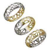 Кольцо Дуэт с графическим орнаментом, желтое и белое золото
