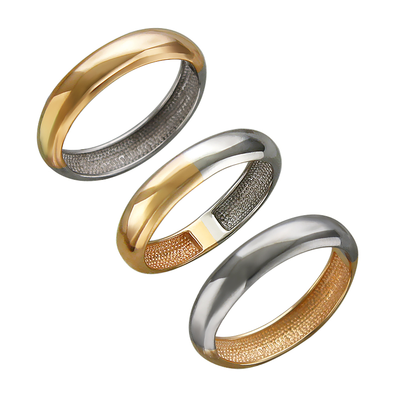 Кольцо Дуэт гладкое, красное и белое золото