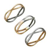Кольцо Дуэт с пересекающимися линиями, красное и белое золото