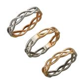 Кольцо Косичка двустороннее из красного и белого золота