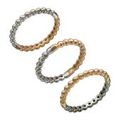 Кольцо Дуэт двустороннее с кружочками, красное и белое золото
