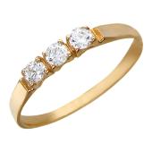 Кольцо, три средних круглых фианита, красное золото, 585 проба