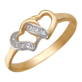 Кольцо помолвочное, Два сердца вместе, красное золото