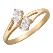 Кольцо, два овальных фианита, красное золото, 585 проба